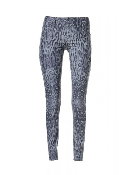 Pantalon skinny imprimé plumes Courtney - CARBONE