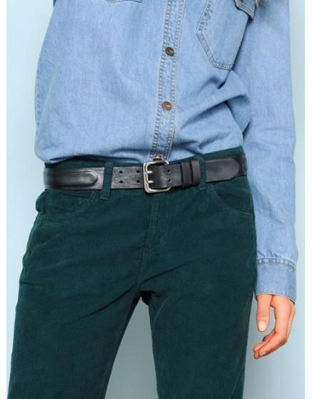 Iridescent leather Belt Lara - silver