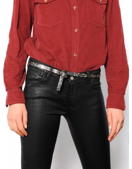 Studded leather Belt Leone - black