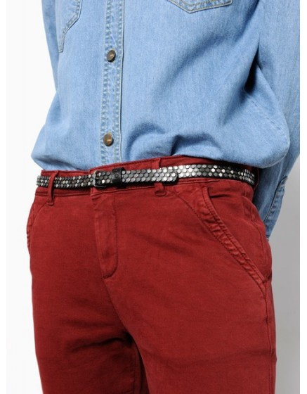 Studded leather Belt Leone - silver