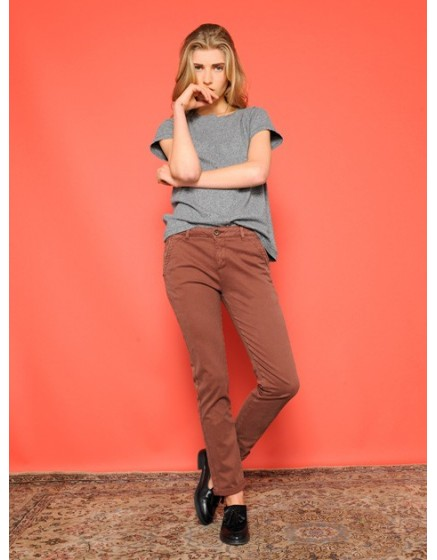 Pantalon chino SANDY - CHATAIN