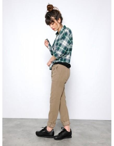 Pantalon chino street life velours Sandrine - TAUPE