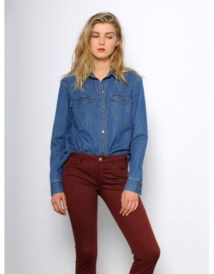 Colored skinny Trousers Nelly - bourgogne-