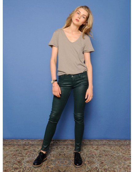 Enduction skinny Trousers Nelly - vert-sapin