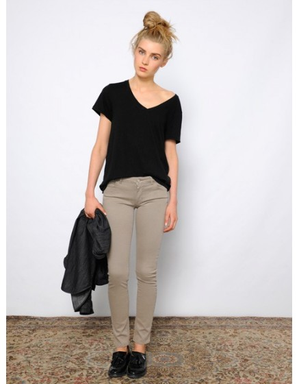 Colored skinny Trousers Nelly - taupe