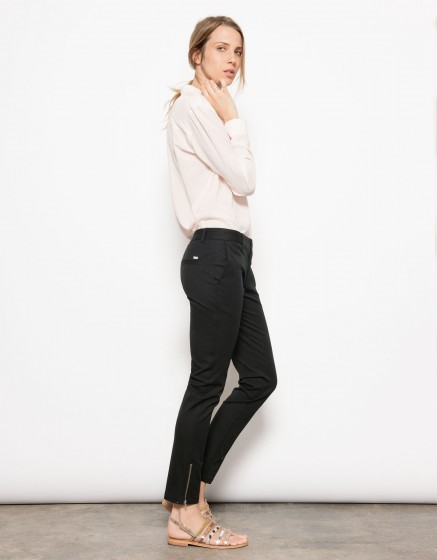 Pantalon cigarette zippé Lizzy-BLACK
