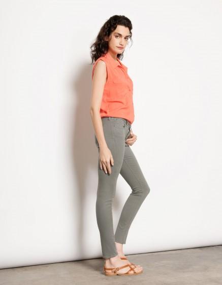 Pantalon skinny couleur Nelly - BETON