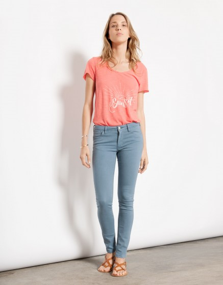 Pantalon skinny couleur Nelly - BLUE JEAN