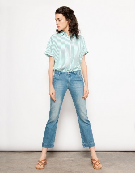 Jean Straight Cropped Payton - DENIM BLUE