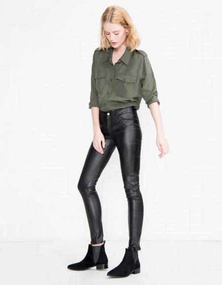 Pantalon skinny en Cuir Nelly - BLACK