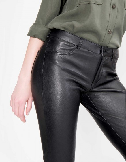 Pantalon skinny en Cuir Nelly - BLACK