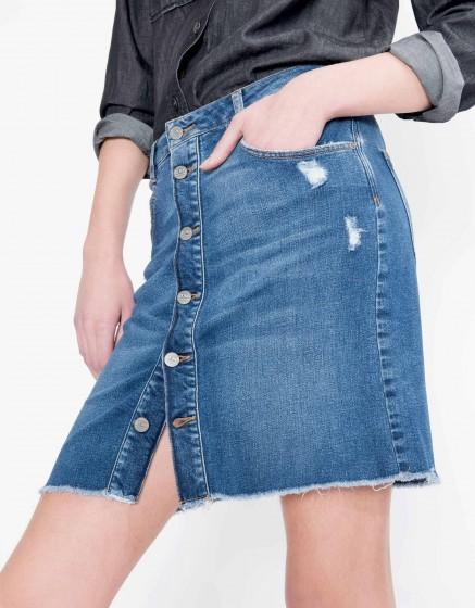 Jupe boutonnée en jean Julianne - DENIM