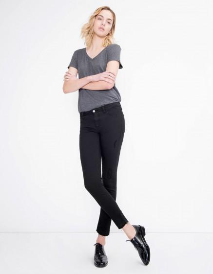 Pantalon coloré skinny cropped Lily - BLACK