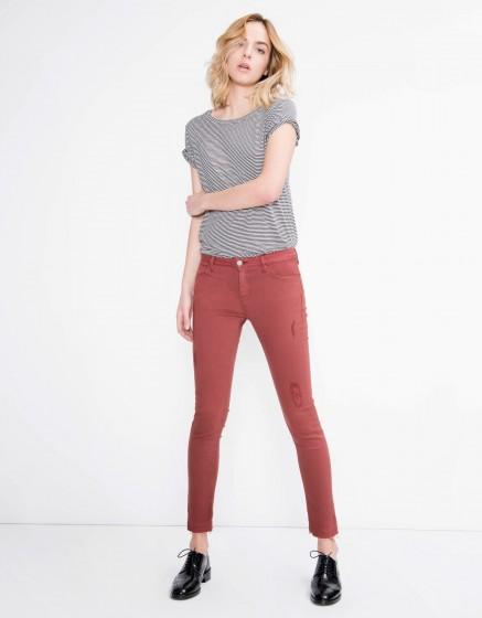 Pantalon coloré skinny cropped Lily - GRENAT ROSE