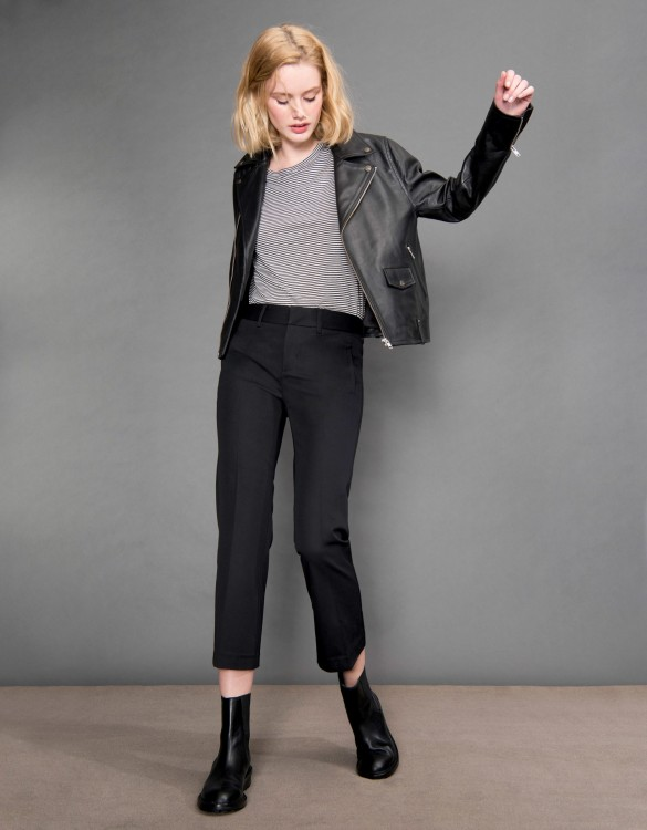 Pantalon straight cropped Lexi - BLACK