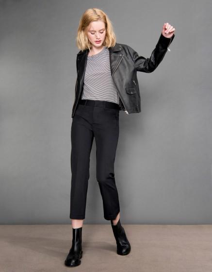 Pantalon straight cropped Lexi - BLACK