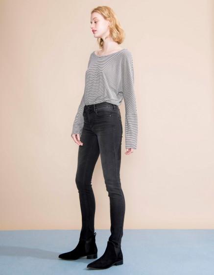 Jean taille haute Arnel - BLACK DENIM