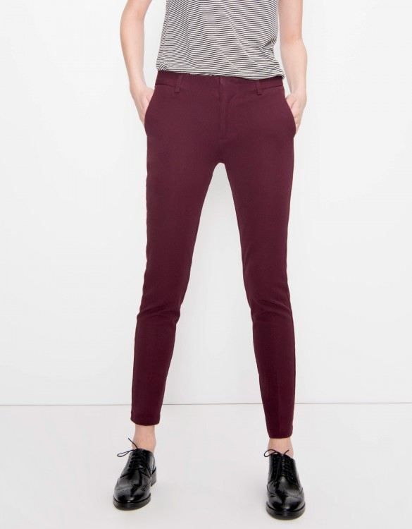 Cigarette Trousers Lizzy Color - BORDEAUX FONCE