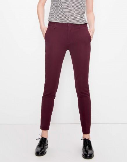 Cigarette Trousers Lizzy Color - BORDEAUX FONCE