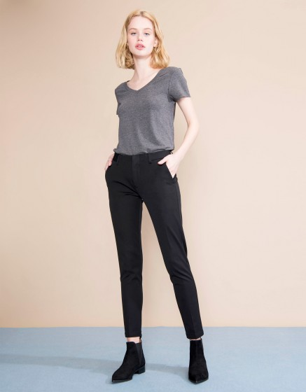 Pantalon cigarette Lizzy Color - BLACK