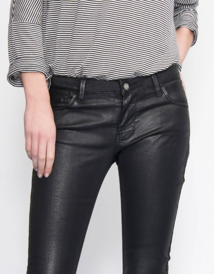 Skinny enduction trousers Nelly - CARBONE