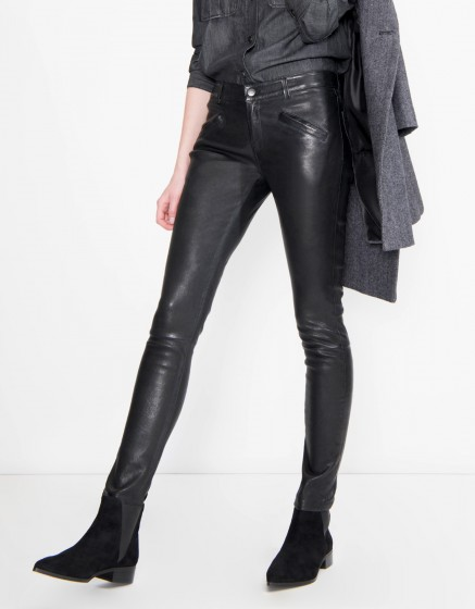 Leather skinny trousers Noah - BLACK
