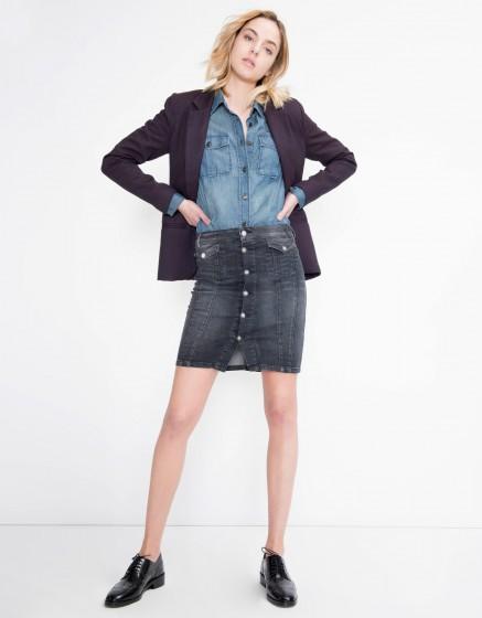 Butonned jean skirt Judy - DENIM V-03