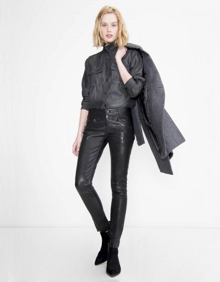 Leather skinny trousers Noah - BLACK