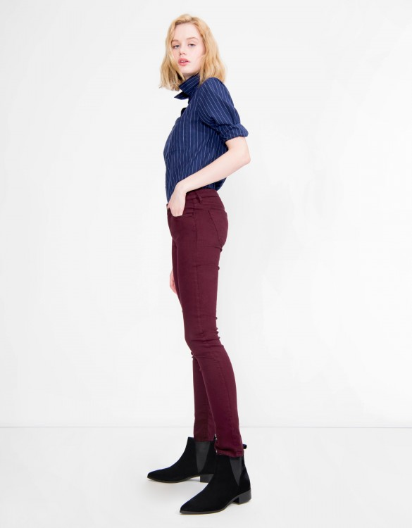 Pantalon skinny coloré Nelly - BORDEAUX FONCE