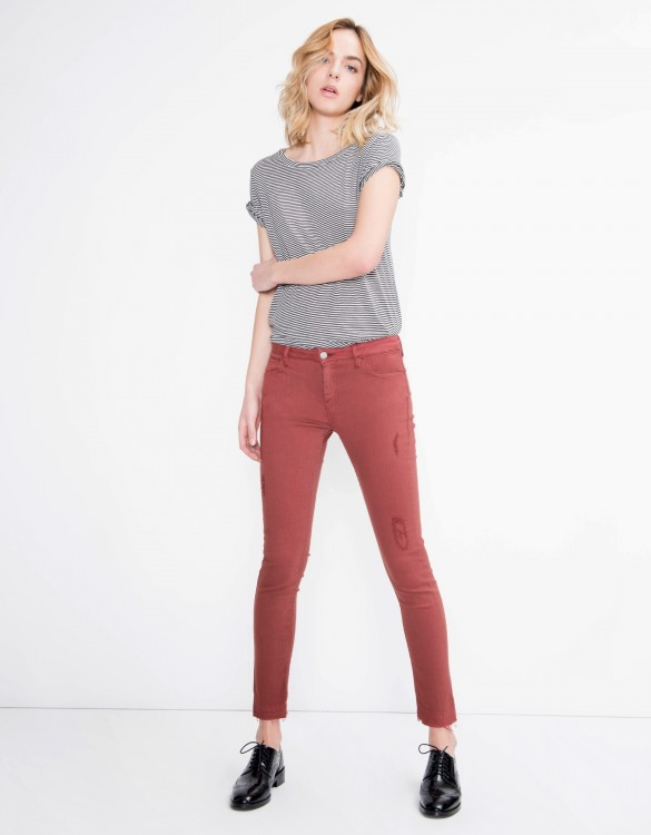 Pantalon coloré skinny cropped Lily - GRENAT ROSE