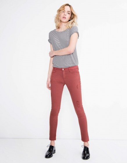 Colored skinny cropped trousers Lily - GRENAT ROSE